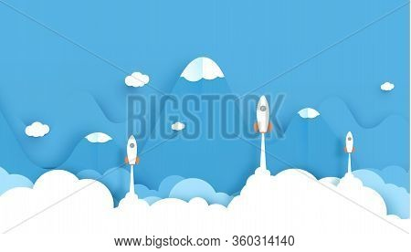 Wide Landscape With A Lot Of Rockets Glide Over The Mountains With Views Over The Beautiful Clouds O