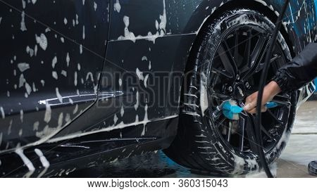 Tomsk, Russia - March 30, 2020: Chevrolet Camaro Zl1 The Exorcist Man Brushes Rear Wheel Disc