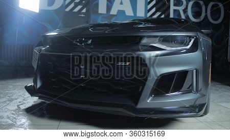 Tomsk, Russia - March 30, 2020: Chevrolet Camaro Zl1 The Exorcist In The Garage With Lights