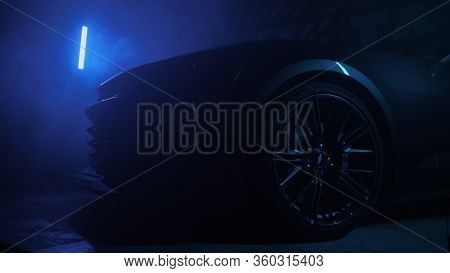Tomsk, Russia - March 30, 2020: Chevrolet Camaro Zl1 The Exorcist In Dark With Color Lights