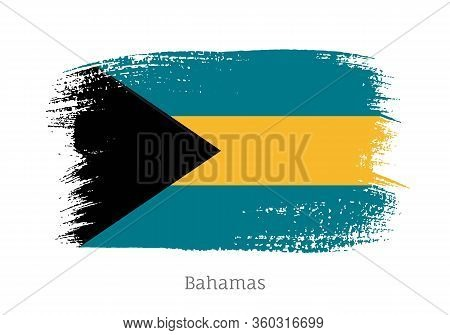 Bahamas Islands Official Flag In Shape Of Paintbrush Stroke. Bahamian National Identity Symbol For P
