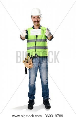 Manual worker wearing protective face mask and gloves to avoid Coronavirus epidemic isolate on white background.