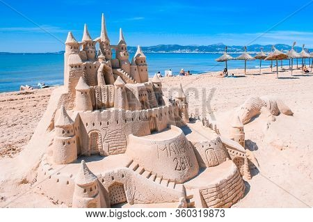 El Arenal, Mallorca, Spain - March 27 2018: Beautiful Sand Castle At The Beach Of El Arenal. It Is A