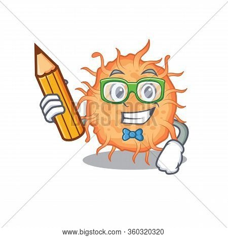 A Brainy Student Bacteria Endospore Cartoon Character With Pencil And Glasses