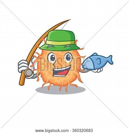 Cartoon Design Concept Of Bacteria Endospore While Fishing