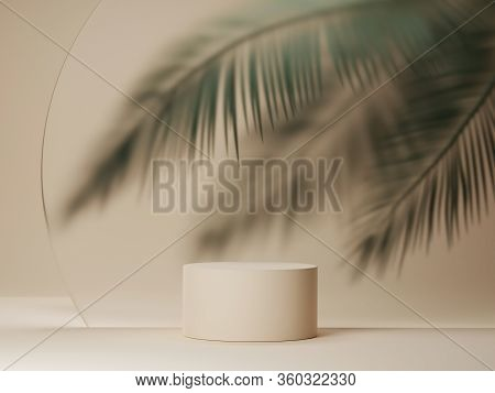 3d Podium Display On Beige Background With Palm Tree Leaf.  Tropical Summer  Minimal Holiday Beauty