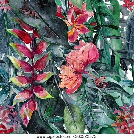 Seamless Pattern With Watercolor Tropical Leaves And Flowers.