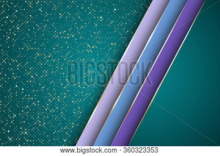 Gold Halftone Dots And Inclined Ribbon Stripes Banner Vector Design. Royal Poster Background Templat