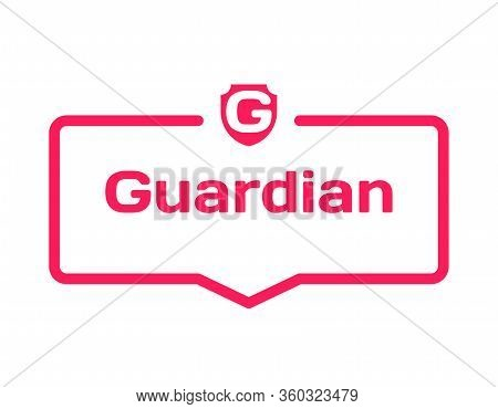 Guardian Template Dialog Bubble In Flat Style On White Background. Basis With Shield Icon For Variou