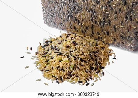 Jasmine Rice Brown Rice Black Rice Mixed Rice And Riceberry Isolated On A White