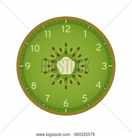 Kiwi Slice Concept, Printable Clock Face Template Isolated On White Background. Clock Dial With Kiwi
