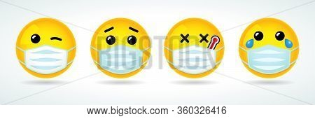 Emoji With Guard Mouth Mask. Yellow Smile Face With Wink, Sick, Crying And Surprised Emoticon Wearin