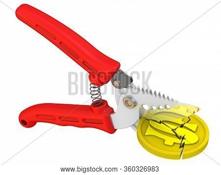 Pruner Cuts Coin With Symbol Of The Us Dollar. Pruner Cuts Gold Coin With The Us Dollar Symbol. Isol