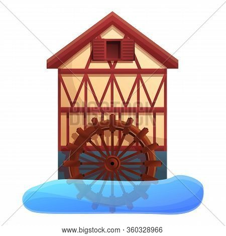 Flour Water Mill Icon. Cartoon Of Flour Water Mill Vector Icon For Web Design Isolated On White Back