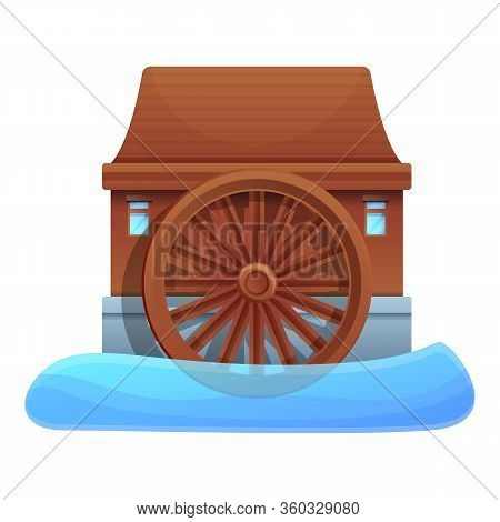 River Water Mill Icon. Cartoon Of River Water Mill Vector Icon For Web Design Isolated On White Back