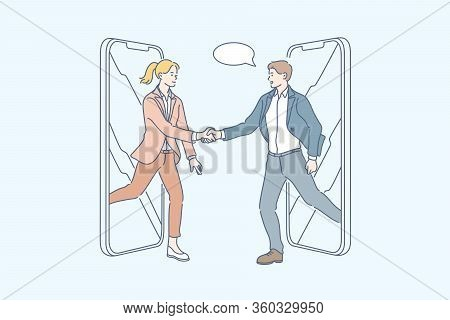 Partnership, Greeting, Business Meeting, Handshake, Transaction Concept. Young Businessman Woman Neg