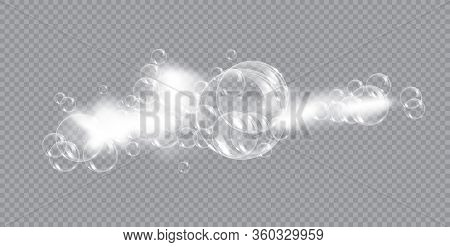 Bath Foam Soap With Bubbles Isolated Vector Illustration On Transparent Background. Shampoo And Soap