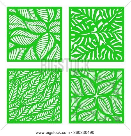 Set Of Vector Square Frames With A Pattern Of Tropical Leaves. Design Element, Sample Panel For Plot