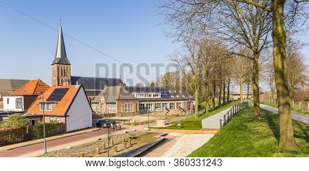 Panorama Of The Rampart In Historic City Steenwijk, Netherlands