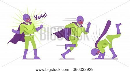 Male Super Hero In Bright Costume, Different Poses. Heroic Strong Warrior, Superpower Man With Super