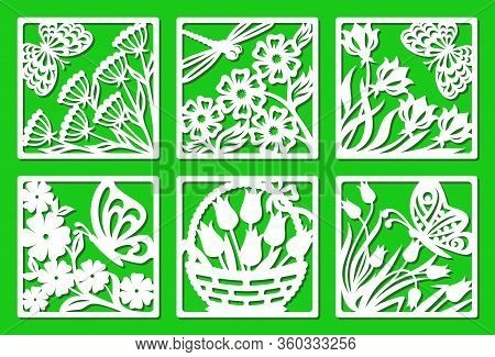 Set Of Vector Square Frames With Plants And Insects. Design Element, Sample Panel For Plotter Cuttin