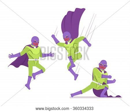 Male Super Hero In Bright Costume, Attack Poses. Heroic Strong Warrior, Superpower Man With Superior
