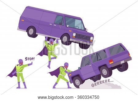 Male Super Hero Holding A Heavy Van. Heroic Strong Brave Warrior, Superpower Man With Superior Comba