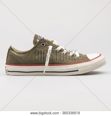 Vienna, Austria - August 16, 2017: Converse Chuck Taylor All Star Ox Olive Green And Beige Sneaker O