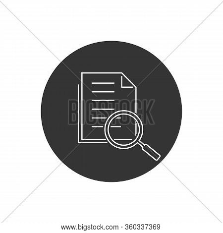 Scrutiny Document Plan Line Icon In Flat Style. Review Statement Vector Illustration On White Isolat