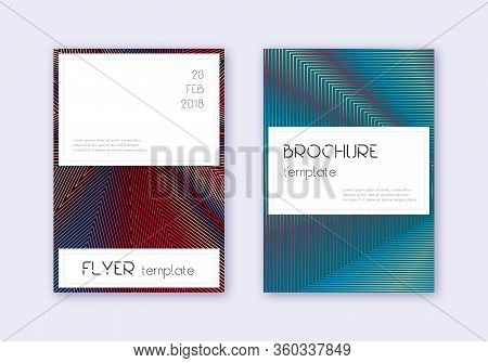 Stylish Cover Design Template Set. Red White Blue Abstract Lines On Dark Background. Fine Cover Desi