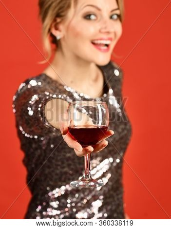 Girl Holding Cabernet Or Merlot With Smiling Face