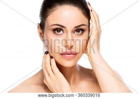 Beautiful Woman Face Portrait. Beauty Skin Care Concept. Isolated On White Background