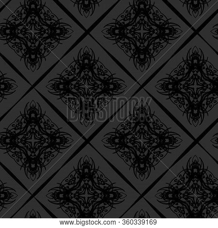 Seamless Pattern Of Dark Elegant Vintage Background With Victorian Tracery
