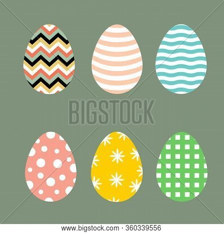 Set Of Easter Eggs With Various Patterns Chevron Waves Floral Checkered Polka Dots In Pastel Retro C
