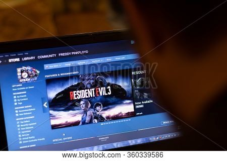 New York, Usa - 9 April 2020: Steam Game Store Application On Laptop Screen Close Up. Man Using Serv