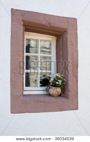 Old Window With Flowerpot
