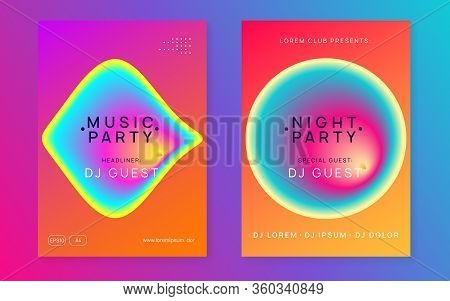 Summer Music Set. Wavy Indie Concert Magazine Template. Fluid Holographic Gradient Shape And Line. E