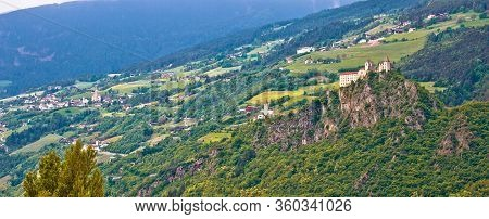 Kloster Saben Castle On Green Apls Hills Near Sabiona Panoramic View, South Tyrol, Northern Italy