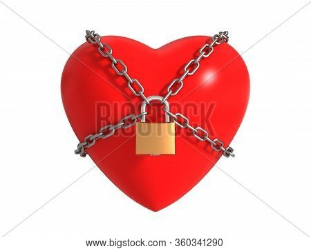 Locked Heart With Chains Isolated On White Background. 3d Illustration.