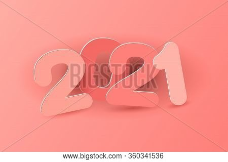 New Year 2021 Paper Cut Numbers In Delicate Pink Colors. Multicolor Inscription 2021. Decorative Gre
