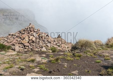 A Basotho Herdsman At The Top Of The Chain Ladders On The Sentinel Hiking Trail To Tugela Falls. A C