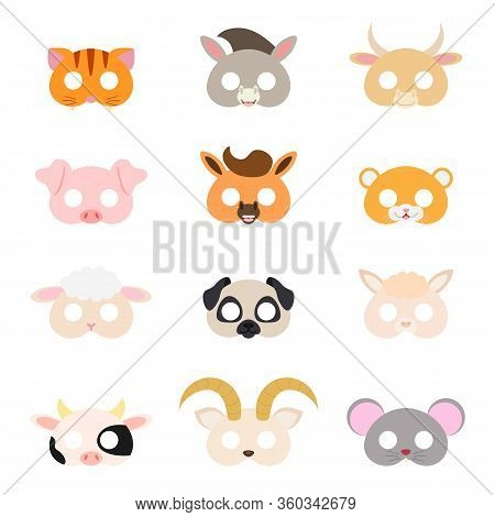 Set Of Assorted Animal Masks, Diy Toys, Dress Up Costumes Mask, Party Supplies, Birthday Party Favor