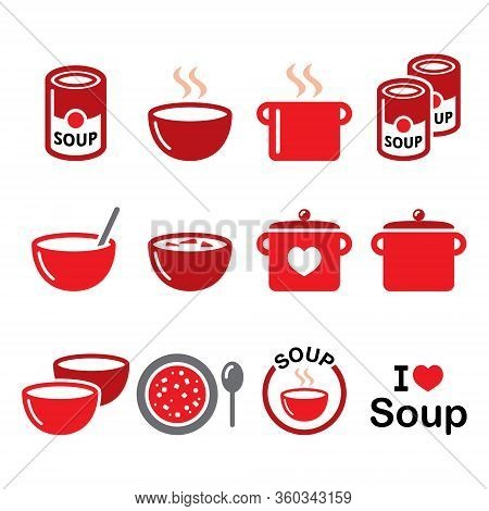Soup In Bowl, Can And Pot - Food Vector Icon Set, Cooking, Restaurant Design