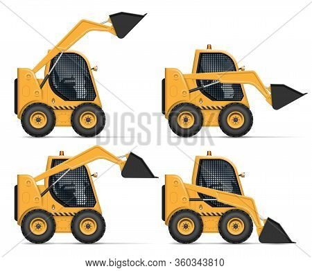 Skid Steer Loader View From Side Isolated On White Background. Construction And Agricultural Vehicle