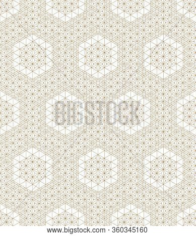 Seamless Geometric Pattern .based On Elements Japanese Style Kumiko.gold Lines.for Design Template,t