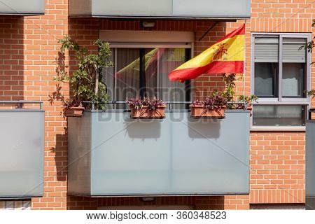 A Spanish flag in balcony after Spain imposed a lockdown to slow down the spread of the coronavirus disease in Valencia, Spain on April 5, 2020.