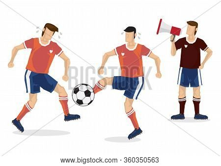 Soccer Players Practice With Their Coach, Dribble On Football Ground. Vector Illustration