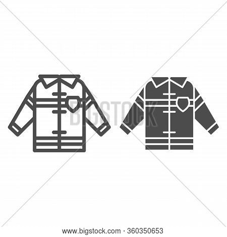 Fireman Uniform Line And Solid Icon. Fireproof Suit Outline Style Pictogram On White Background. Fir