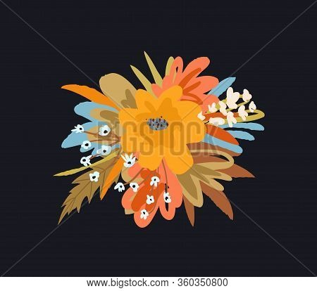 Blooming Flowers Floral Round Vintage Graphic Composition For Greeting Card Or T Shirt On Black Back