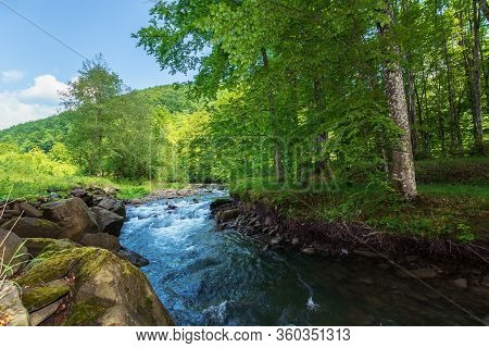 Beautiful Landscape Of Rapid Mountain River. Flow Among Mossy Rocks In The Fores In Springtime. Warm